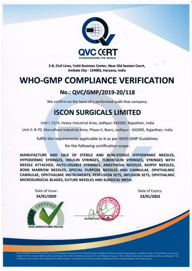 WHO GMP COMPLIANCE CERTIFICATE